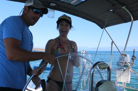 Learning to sail with Captain Corey...longtime friend of Sam and SUP badass....